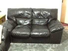 Two leather settees