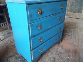 Blue painted wooden chest of drawers