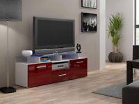 Evora mini high gloss tv unit with glass doors