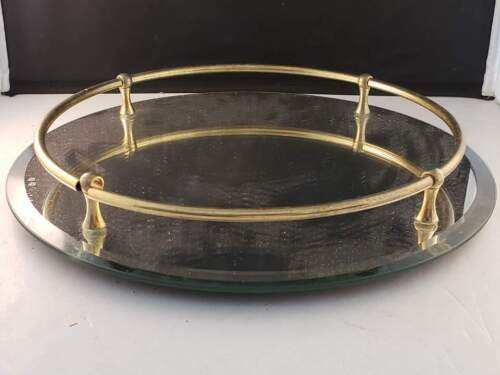 """Mirrored Glass Vanity Perfume Tray Brass Rods Rails Gold Tone 12""""D Vintage"""