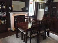 4 Piece Dining Room Furniture Set (Table & Chairs, Dresser, Shelve Unit, Large Mirror)