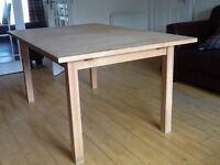 WOODEN EXTENDABLE TABLE (IKEA) and CHAIRS (Sell separate if required)
