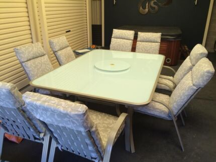 8 seater outdoor dining table and chairs with lazy susan