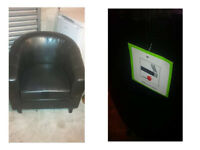 BRAND NEW BLACK LEATHER TUB CHAIR LABELS STILL ATTACHED VERY COMFY ALSO SOFA AVAILABLE SEE BELOW