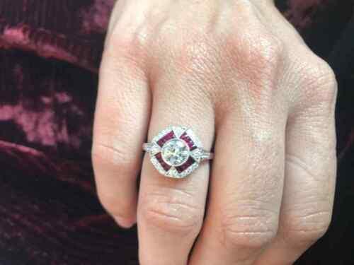 Art Deco Octagon Shape Old European Cut CZ & Pink Rubies Unique Engagement Ring