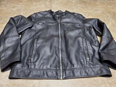 Mens Black Guess Leather Jacket Size Extra Large XL 100% Polyester