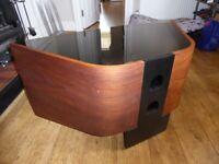 Beautiful Walnut and Glass Corner TV unit
