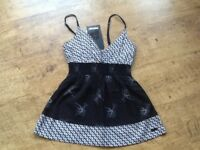 NEW WITH TAG ON : A PROTEST LABEL STRAP TOP BLACK/WHITE PATTERN PETITE SIZE 8/10