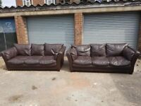 Comfy brown leather 3 and 3 sofa suite ,pair of large 3 seater sofas ,couple scufs,can deliver