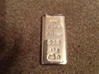 Pure Silver Bullion bar 999