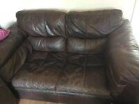 Free brown leather 2 seat sofa