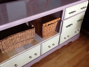 Purple & lime cabinet with baskets