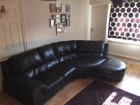 Leather Curved Corner Sofa