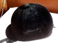 Black velvet horse riding hat - like new!