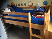 Thuka mid sleeper bed with bookcase under and canopy tent (no mattress)