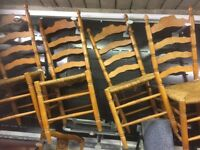 PINE LADDER BACK CHAIRS