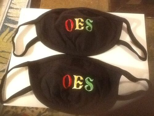 OES  BLACK FACE MASK, Fraternity, ORDER OF EASTERN STAR LOT OF 2 EACH