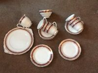 Fine Bone China Set of 6 each of Tea Cups, Saucers, Side Plates. A cake/sandwich plate.