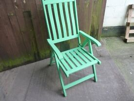 Green Painted Folding Reclining Garden Chair Delivery Available