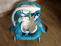 Chicco Hoopla Bouncer and Rocking Chair - Turquoise Blue (suitable from birth)- £20.00