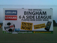 FOOTBALL - NEW LEISURE LEAGUES BINGHAM 6-A-SIDE LEAGUE SEASON - FREE ENTRY, JOIN NOW!!