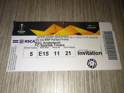 Rare Ticket : RSC Anderlecht - Spartak Trnava 29-11-2018 Europa League