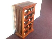 Rosewood wine rack for 10 bottles