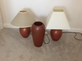Two table lamps and a vase matching terracotta and gold cracked style changed decor hence sale