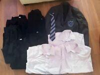 "Boys Selston high school blazer -chest 32"", 5 pairs of black trousers & 3 white shirts & tie"