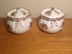 Pair of Royal Albert Old Country Roses lidded trinket boxes