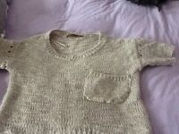 Ladies Next size 8 short sleeve and short length woolly jumper.