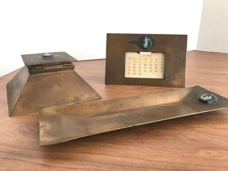 Antique Sterling Bronze Desk Set