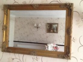 Decorative Wall mirror with ornate antique gold coloured frame