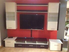 TV stand and storage unit set black and white matt high gloss display wall