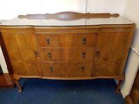 Vintage Walnut Queen Ann Style Sideboard