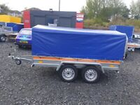 BRAND NEW 8.7 X 4.2 TWIN AXLE TEMARED ECO TRAILER WITH 100CM FRAME AND COVER 750KG