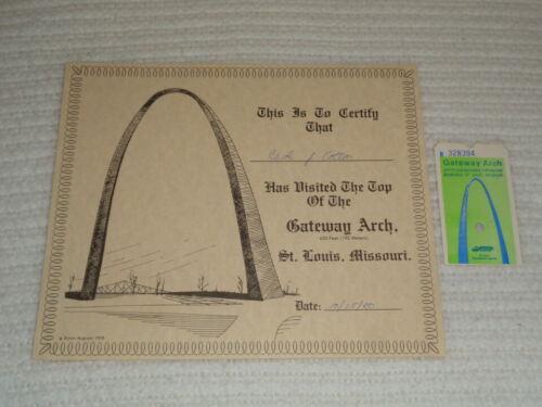 Vintage Gateway Arch St. Louis Missouri Original Certificate & Ticket Stub
