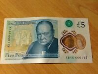 RARE PLASTIC FIVE POUND NOTE BANK OF ENGLAND NOT BEEN IN CIRCULATION STARTS AB46