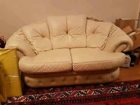Italian leather sofa and 2 chairs