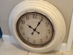 Large 28 White Distressed Wall Clock With Rope
