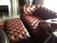 Brown Leather Chesterfield Sofa And Extra Large Footstool
