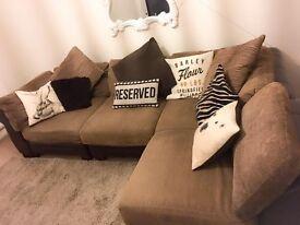 L Shape Corner Large Brown Beige Sofa Leather Settee Suite