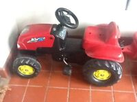 Red Pedal Tractor and Trailer