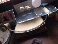 Cream glass coffee table