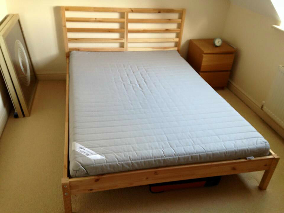 ikea tarva pine bed frame double purchase sale and exchange ads. Black Bedroom Furniture Sets. Home Design Ideas
