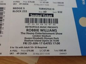 ROBBIE WILLIAMS Seated! Fri 23rd June Queen Elizabeth Olympic Park 2xtickets or 4