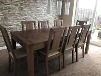 HARVEYS DARK SOLID OAK WOOD EXTENDING DINING TABLE AND CHAIRS BRAND NEW
