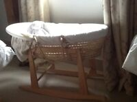 Beautiful Moses basket and rocking stand with John Lewis mattress