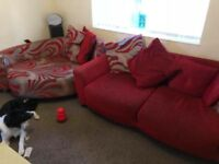 Large sofa and large cuddle arm chair