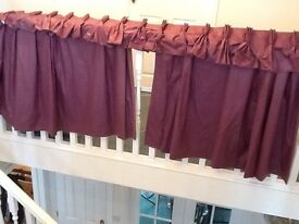 Purple curtains, professionally made with pelmet.